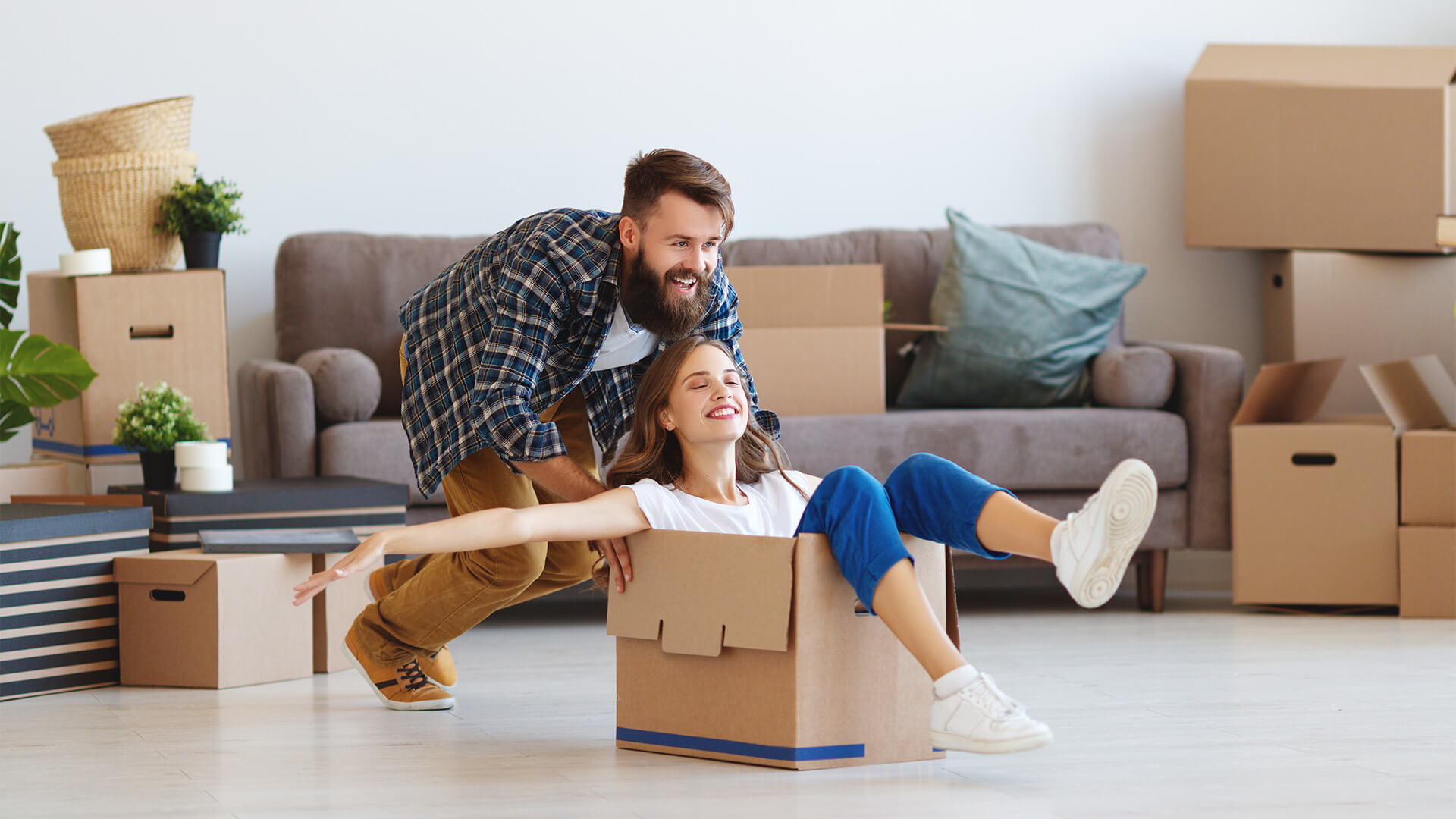 Happy Moving Couple into new home